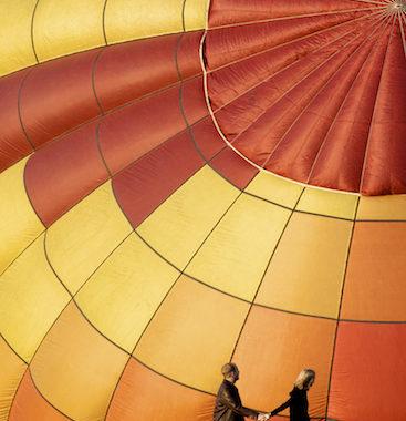 a hot air balloon engagement